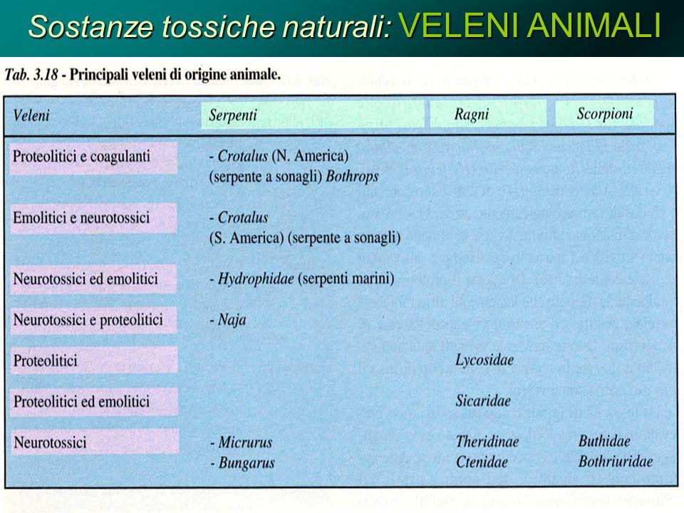 Sostanze tossiche naturali: VELENI ANIMALI