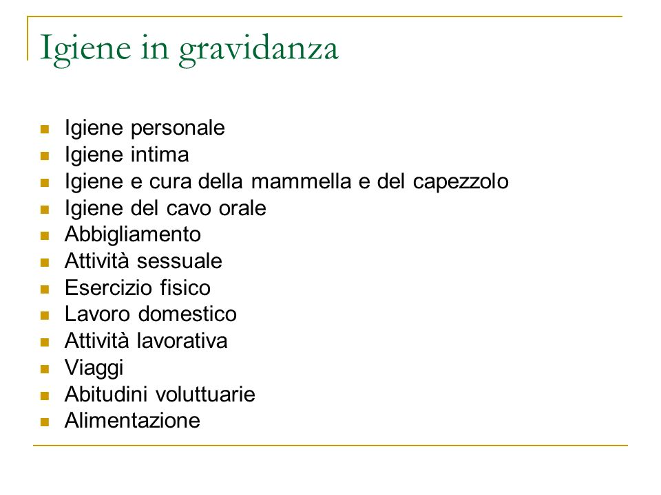 Igiene in gravidanza Igiene personale Igiene intima