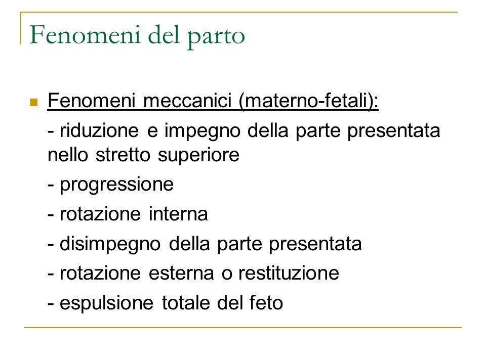Fenomeni del parto Fenomeni meccanici (materno-fetali):