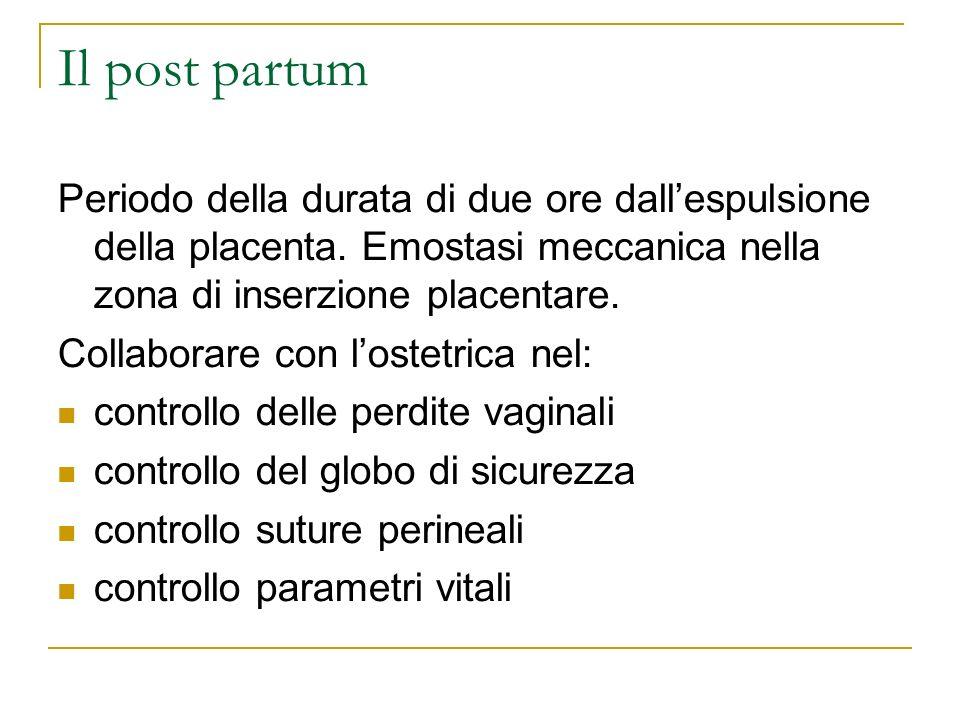 Il post partum Periodo della durata di due ore dall'espulsione della placenta. Emostasi meccanica nella zona di inserzione placentare.