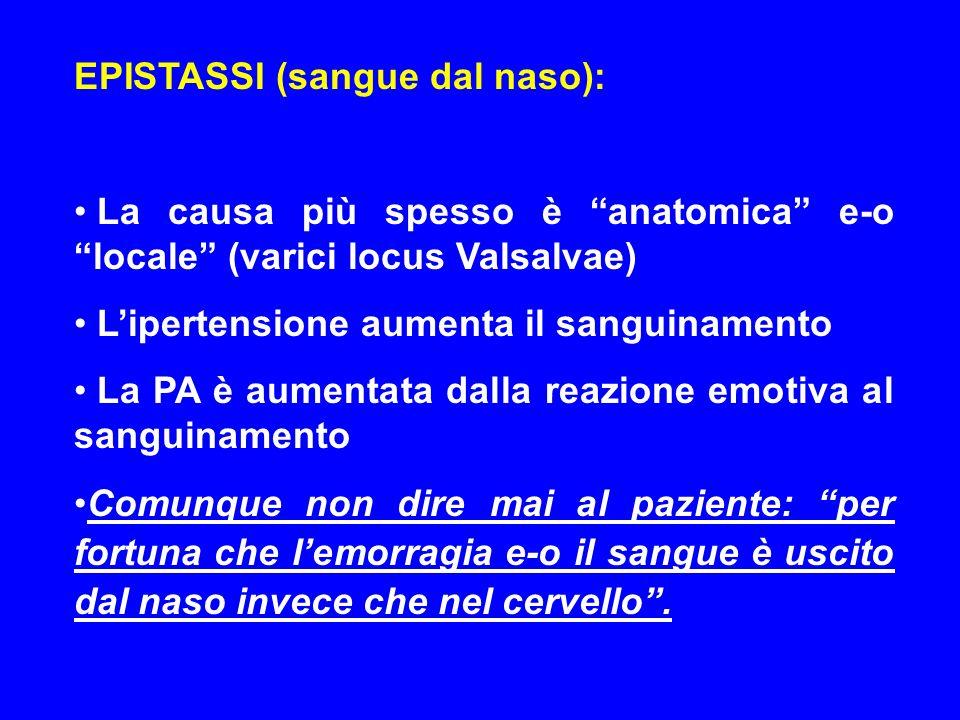 EPISTASSI (sangue dal naso):