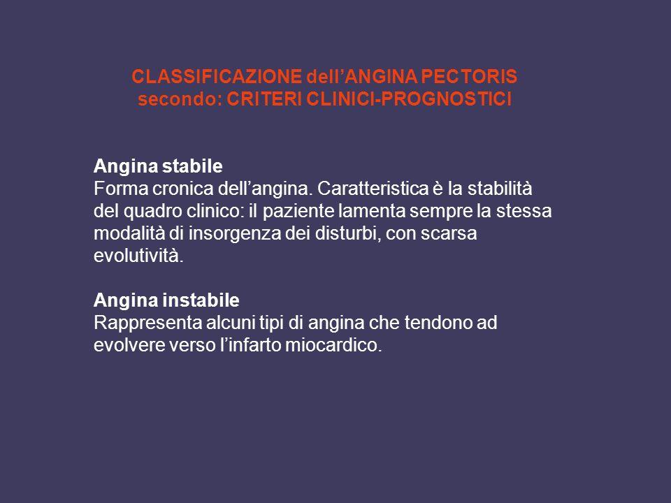 CLASSIFICAZIONE dell'ANGINA PECTORIS secondo: CRITERI CLINICI-PROGNOSTICI