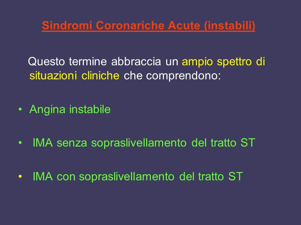 Sindromi Coronariche Acute (instabili)