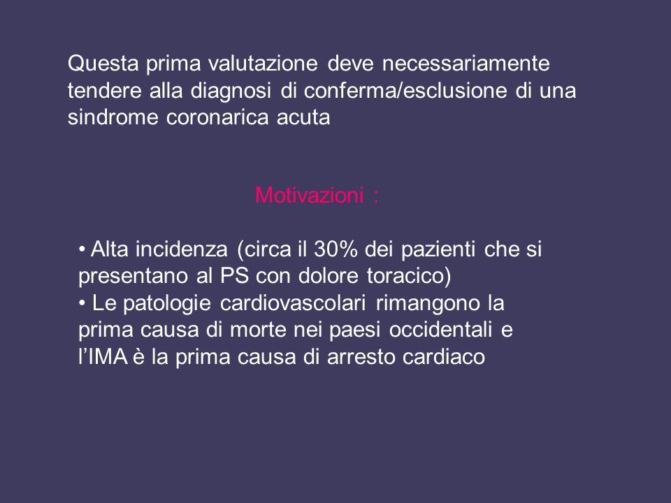 Questa prima valutazione deve necessariamente tendere alla diagnosi di conferma/esclusione di una sindrome coronarica acuta