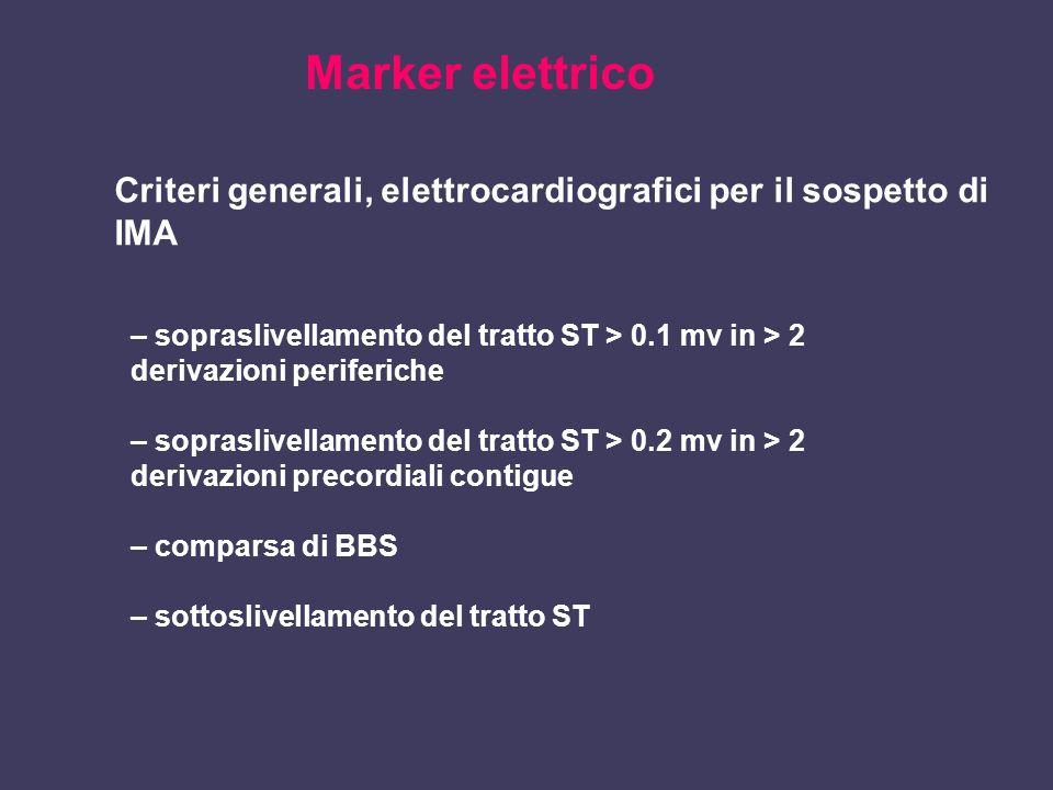 Marker elettrico Criteri generali, elettrocardiografici per il sospetto di IMA. – sopraslivellamento del tratto ST > 0.1 mv in > 2.