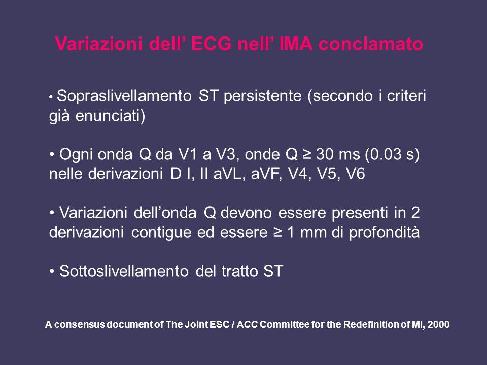 Variazioni dell' ECG nell' IMA conclamato