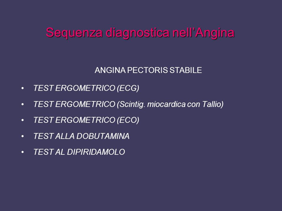 Sequenza diagnostica nell'Angina