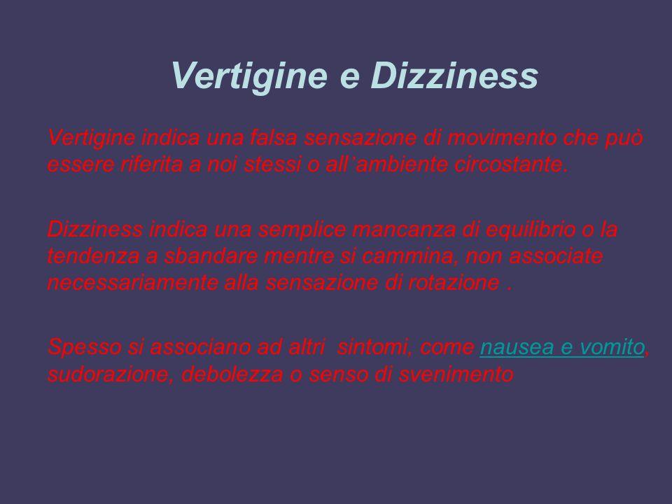 Vertigine e Dizziness Vertigine indica una falsa sensazione di movimento che può essere riferita a noi stessi o all'ambiente circostante.