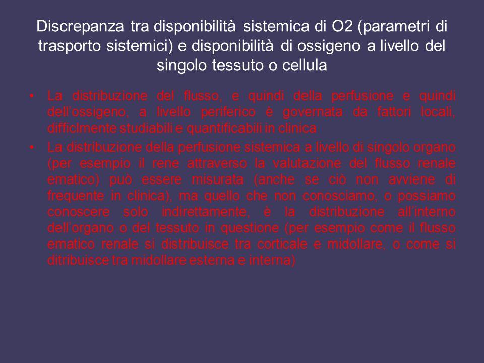 Discrepanza tra disponibilità sistemica di O2 (parametri di trasporto sistemici) e disponibilità di ossigeno a livello del singolo tessuto o cellula