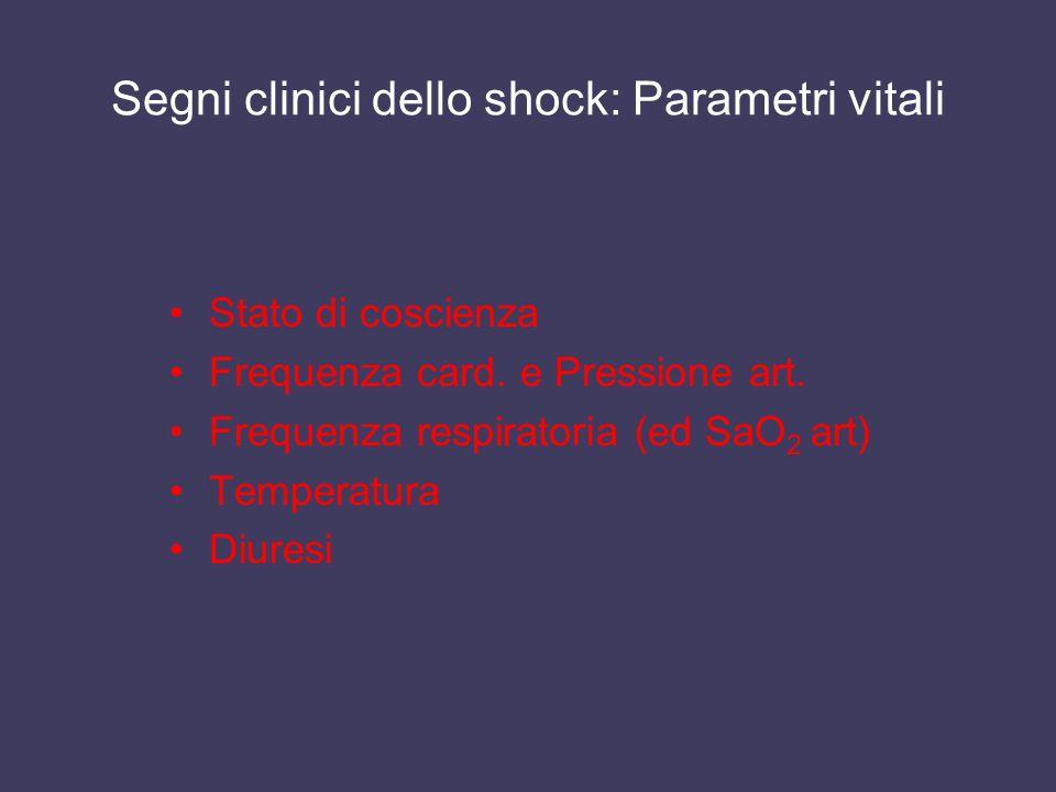 Segni clinici dello shock: Parametri vitali