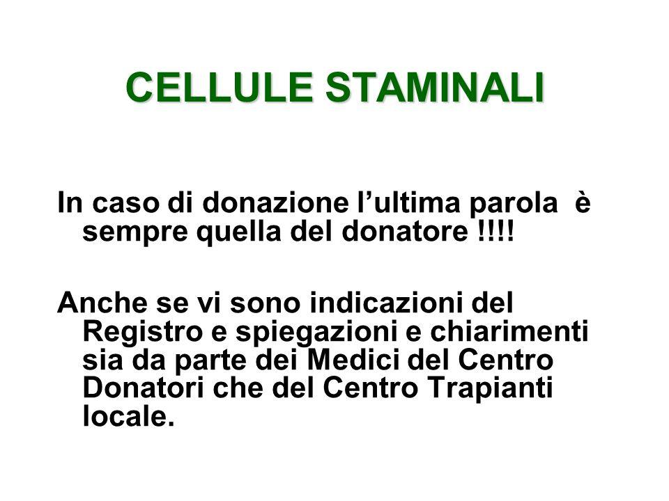 CELLULE STAMINALI In caso di donazione l'ultima parola è sempre quella del donatore !!!!