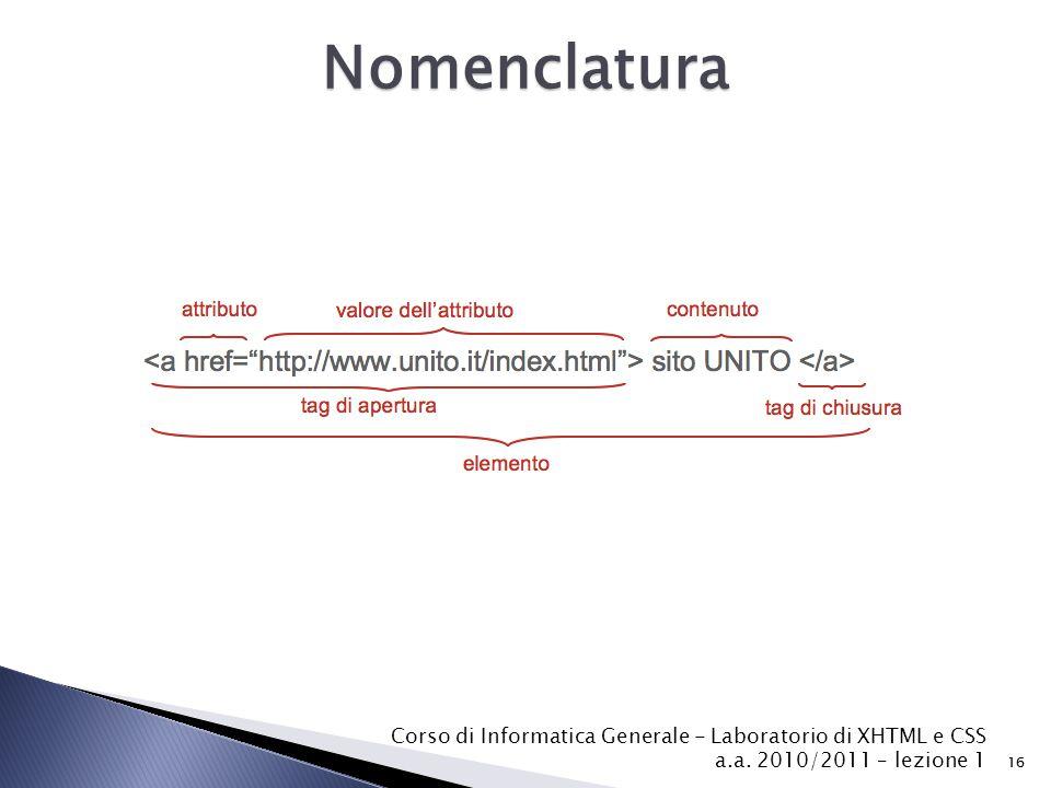 Nomenclatura Corso di Informatica Generale - Laboratorio di XHTML e CSS a.a. 2010/2011 – lezione 1.