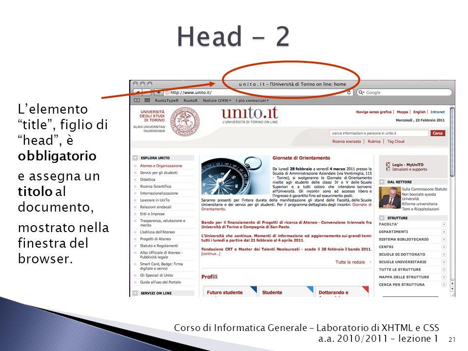 Head - 2 L'elemento title , figlio di head , è obbligatorio
