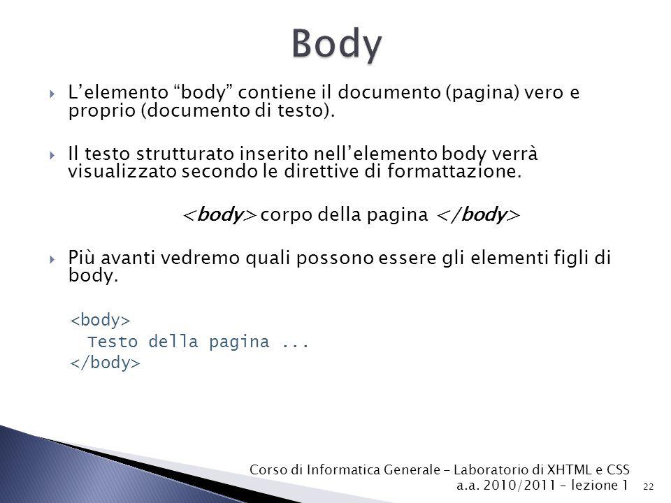 <body> corpo della pagina </body>
