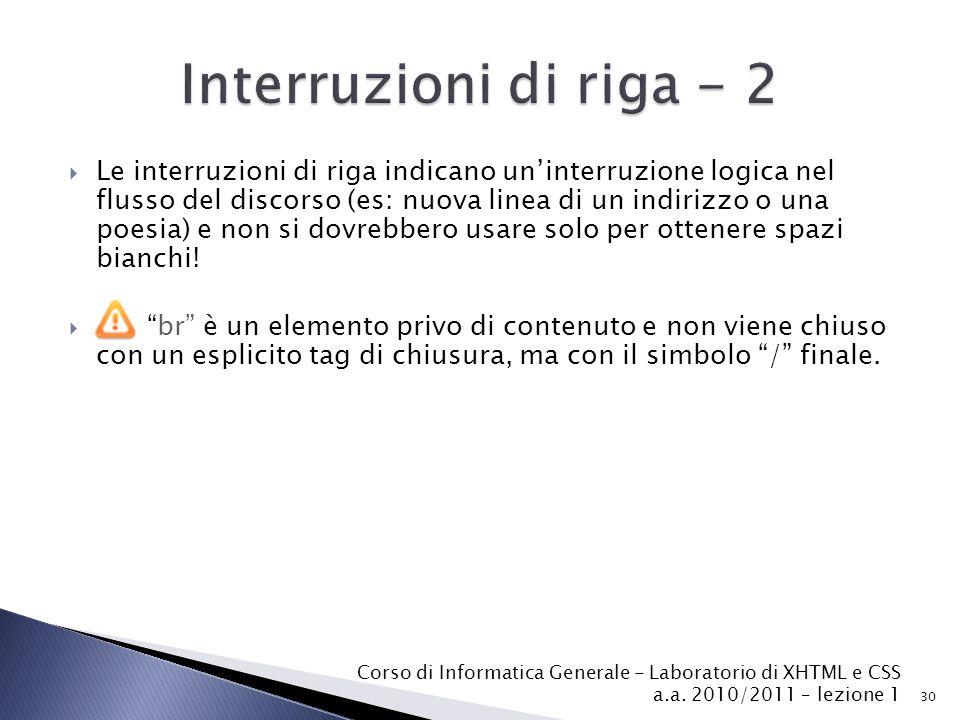 Interruzioni di riga - 2
