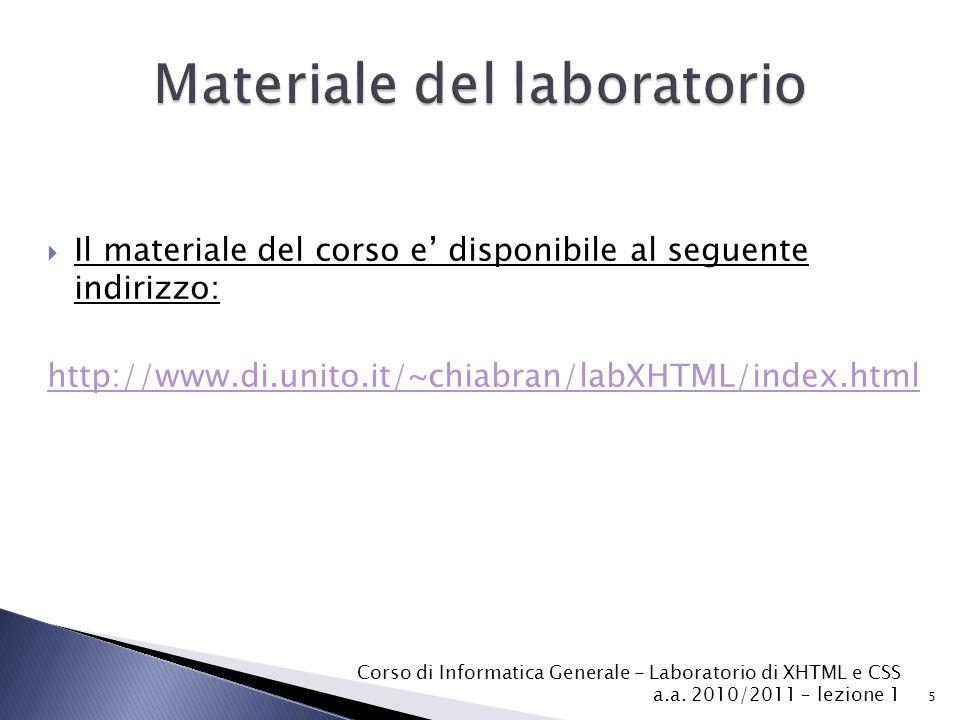 Materiale del laboratorio