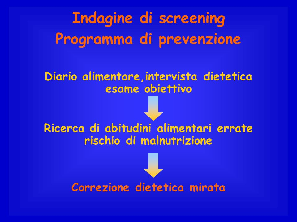 Indagine di screening Programma di prevenzione