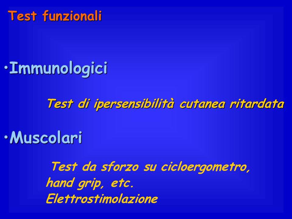 Immunologici Muscolari Test funzionali hand grip, etc.