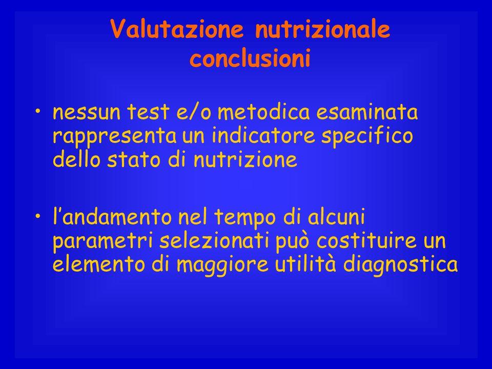 Valutazione nutrizionale conclusioni