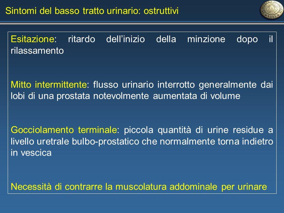 Sintomi del basso tratto urinario: ostruttivi