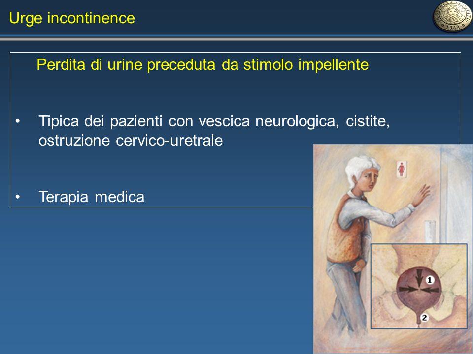 Urge incontinence Perdita di urine preceduta da stimolo impellente.