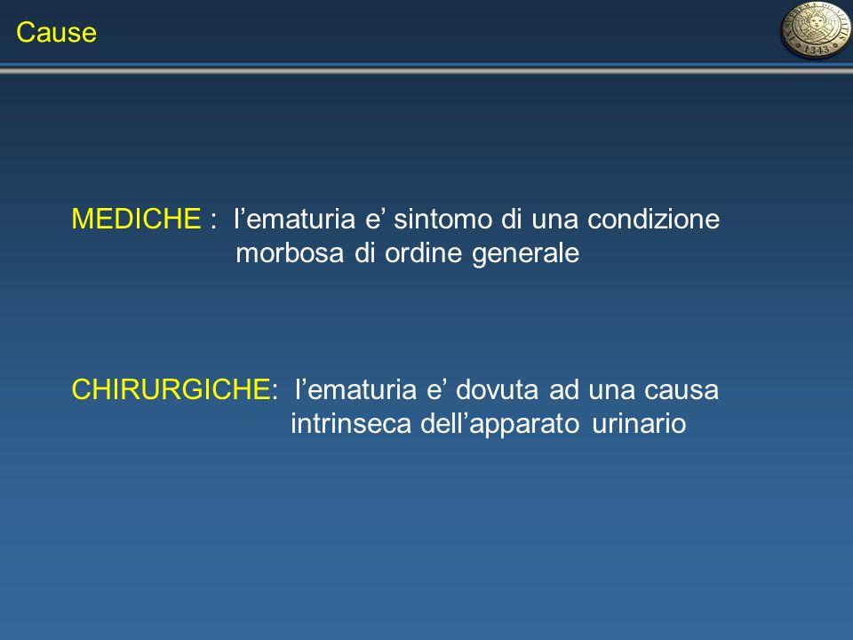 Cause MEDICHE : l'ematuria e' sintomo di una condizione. morbosa di ordine generale. CHIRURGICHE: l'ematuria e' dovuta ad una causa.