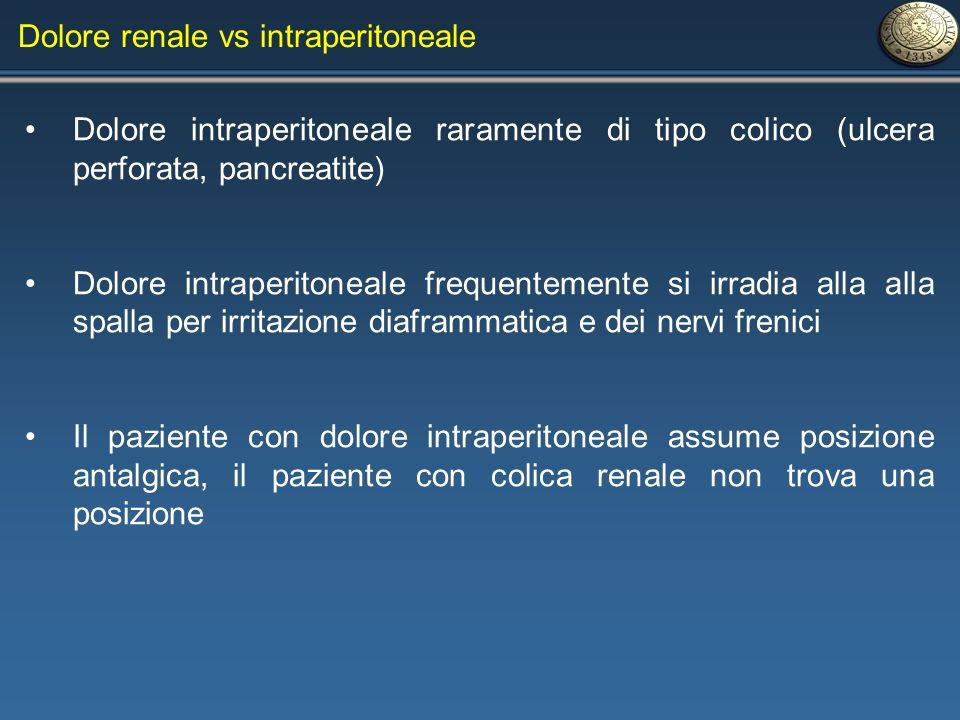 Dolore renale vs intraperitoneale