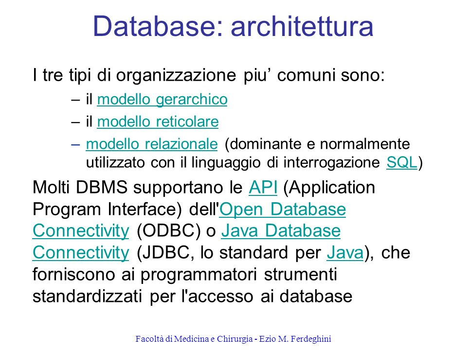 Database: architettura
