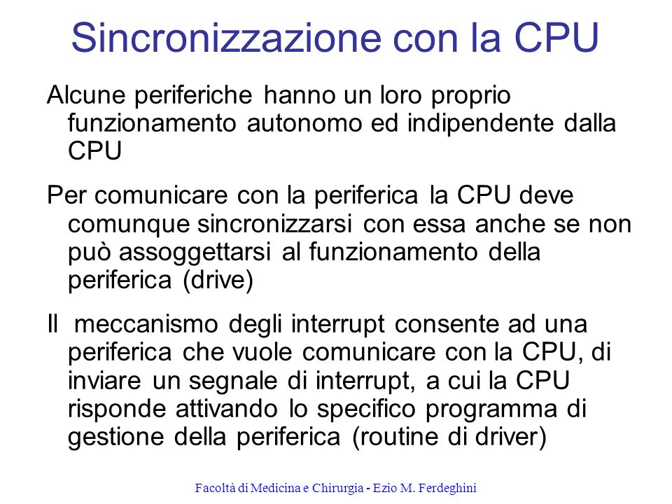 Sincronizzazione con la CPU