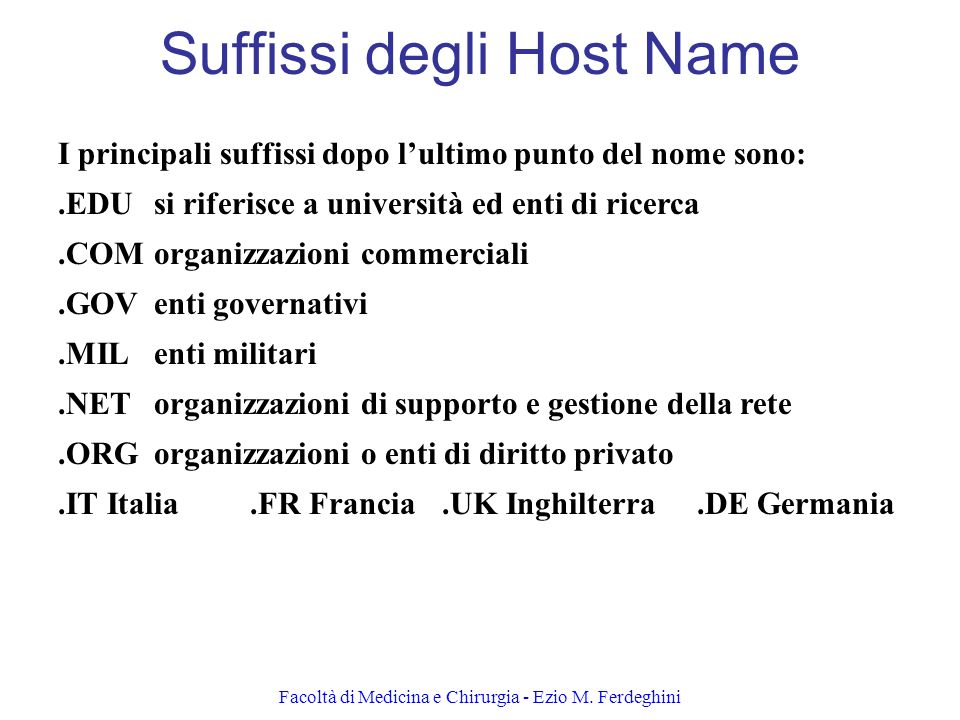 Suffissi degli Host Name