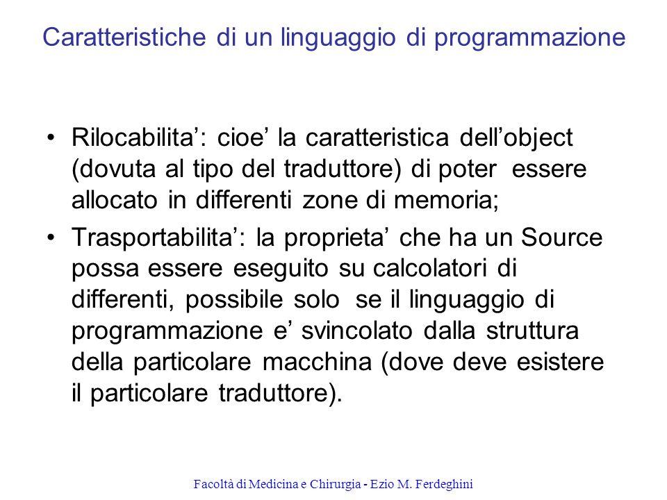 Caratteristiche di un linguaggio di programmazione