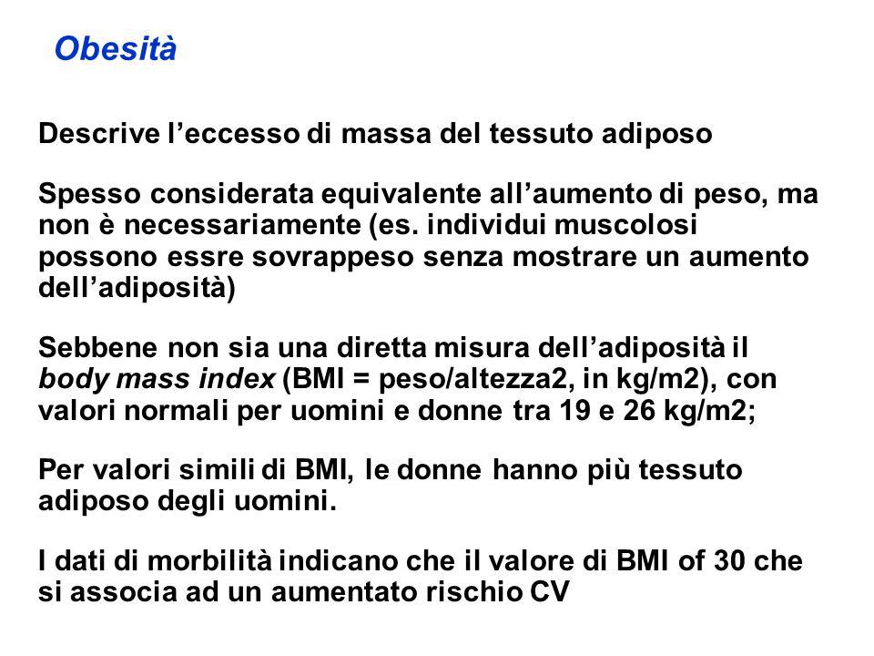 Obesità Descrive l'eccesso di massa del tessuto adiposo