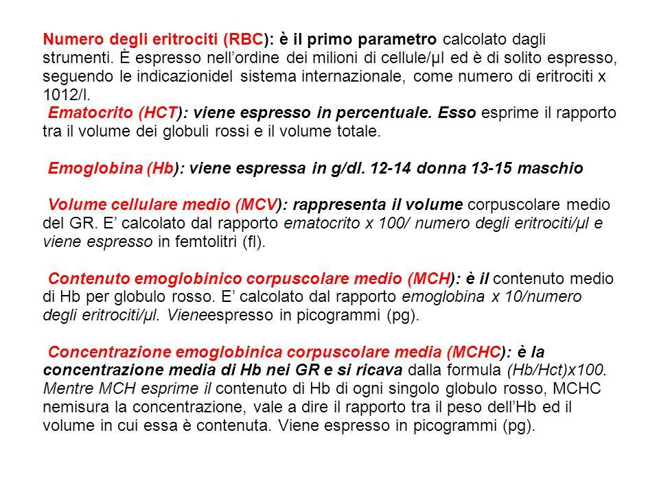 Numero degli eritrociti (RBC): è il primo parametro calcolato dagli strumenti. È espresso nell'ordine dei milioni di cellule/μl ed è di solito espresso, seguendo le indicazionidel sistema internazionale, come numero di eritrociti x 1012/l.