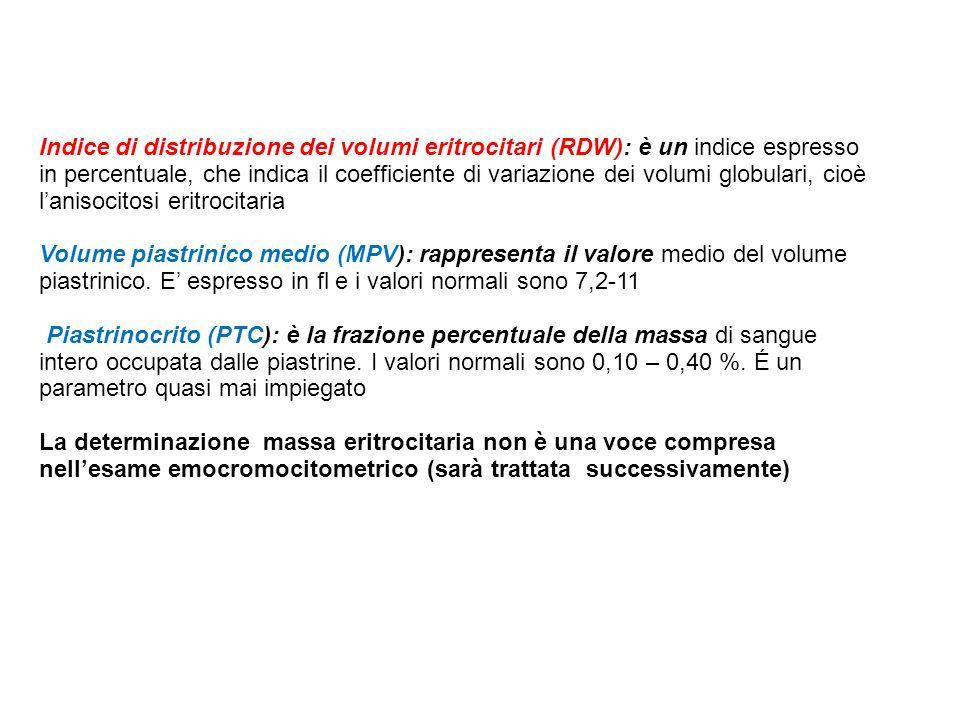 Indice di distribuzione dei volumi eritrocitari (RDW): è un indice espresso in percentuale, che indica il coefficiente di variazione dei volumi globulari, cioè l'anisocitosi eritrocitaria