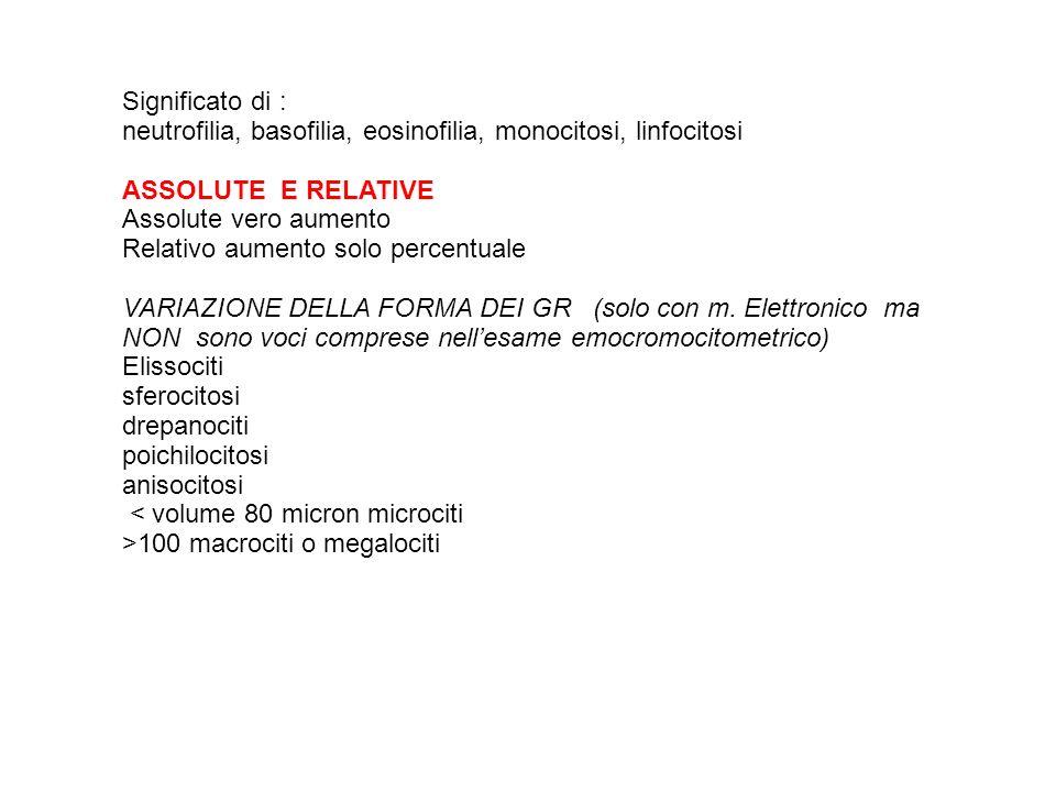 Significato di : neutrofilia, basofilia, eosinofilia, monocitosi, linfocitosi. ASSOLUTE E RELATIVE.