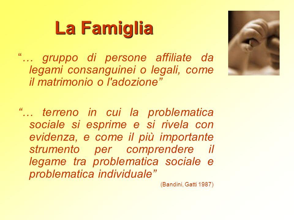 La Famiglia … gruppo di persone affiliate da legami consanguinei o legali, come il matrimonio o l adozione