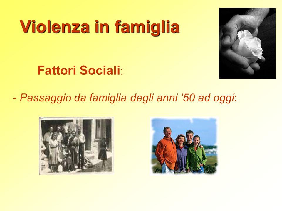 Violenza in famiglia Fattori Sociali: