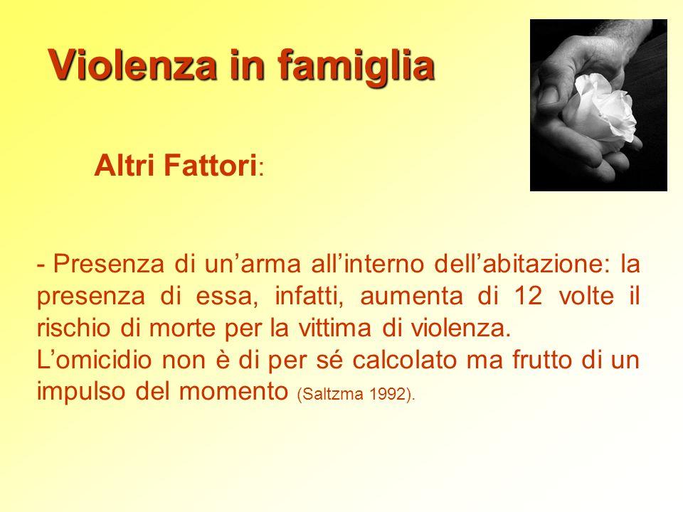 Violenza in famiglia Altri Fattori: