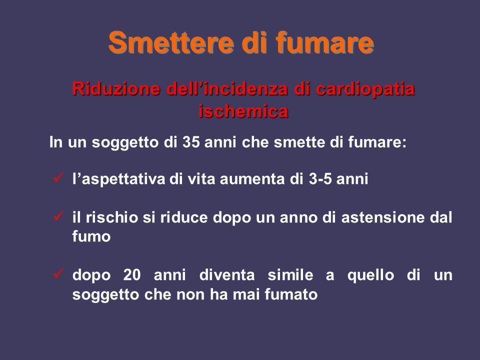 Riduzione dell'incidenza di cardiopatia ischemica