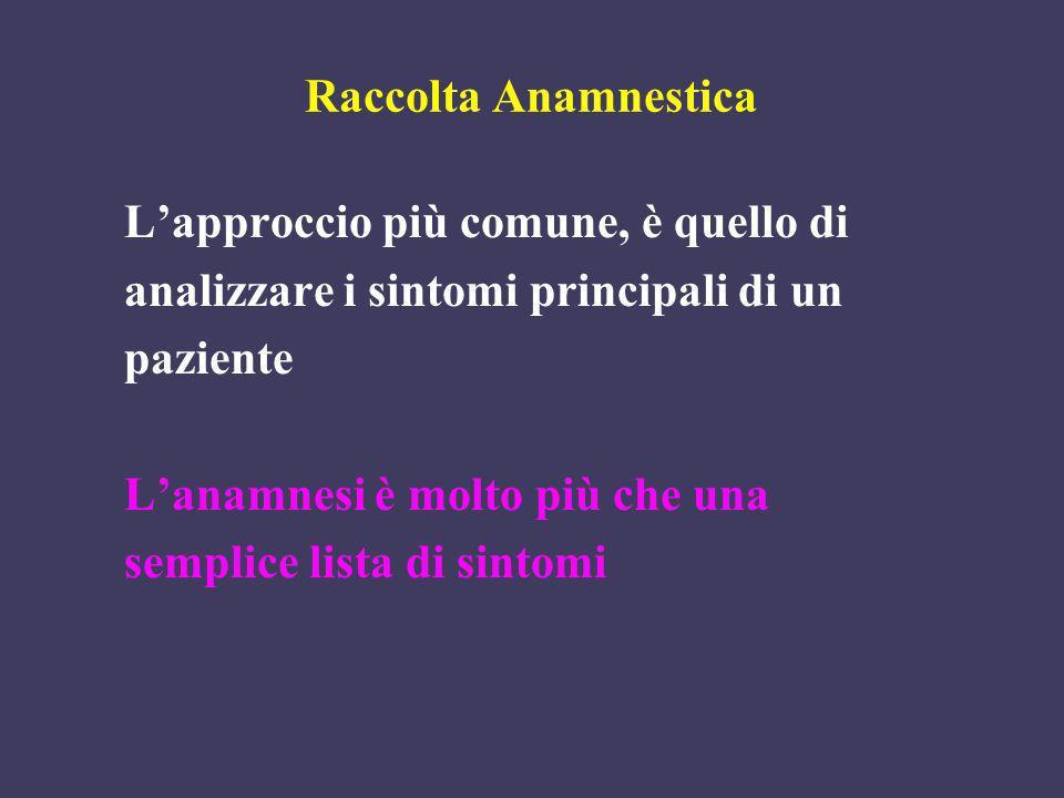 Raccolta Anamnestica L'approccio più comune, è quello di. analizzare i sintomi principali di un. paziente.