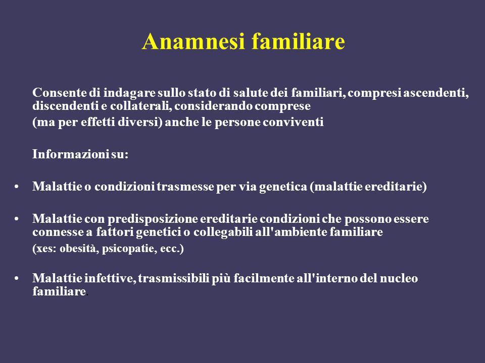 Anamnesi familiare Consente di indagare sullo stato di salute dei familiari, compresi ascendenti, discendenti e collaterali, considerando comprese.