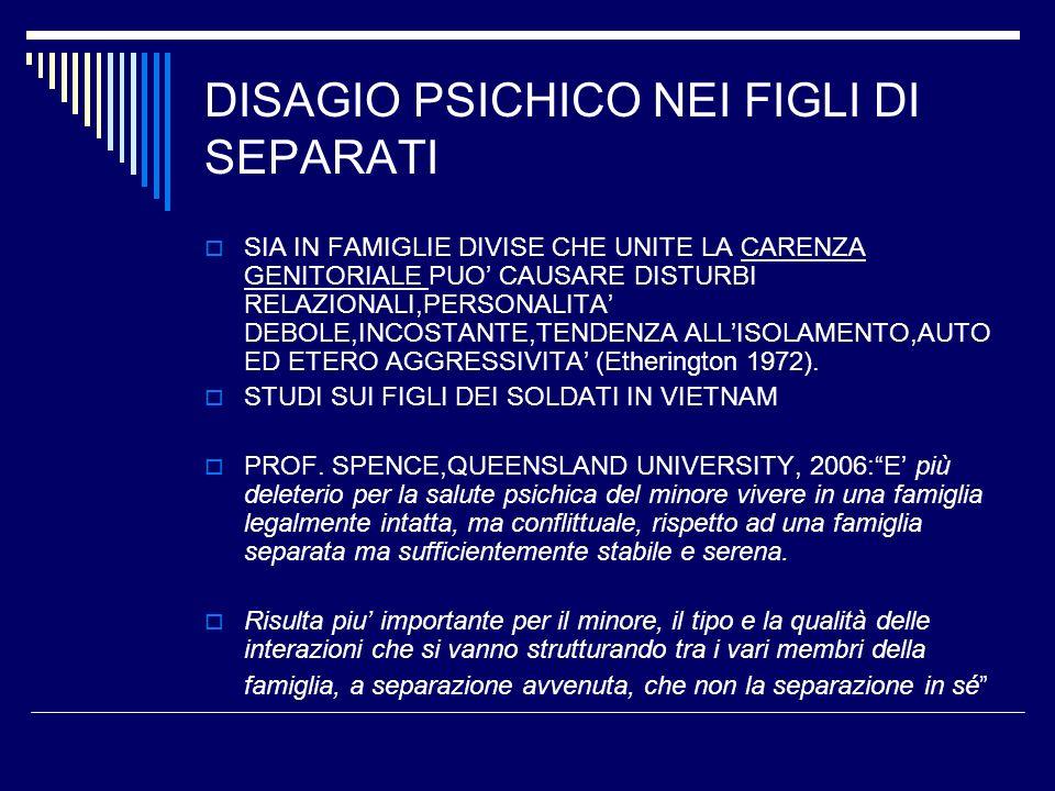 DISAGIO PSICHICO NEI FIGLI DI SEPARATI