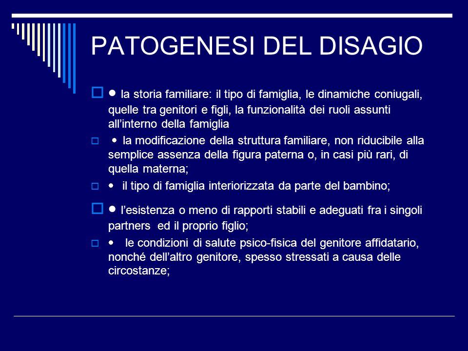 PATOGENESI DEL DISAGIO