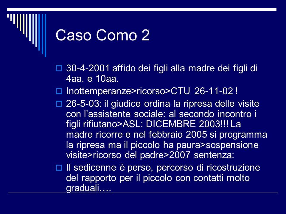 Caso Como 2 30-4-2001 affido dei figli alla madre dei figli di 4aa. e 10aa. Inottemperanze>ricorso>CTU 26-11-02 !
