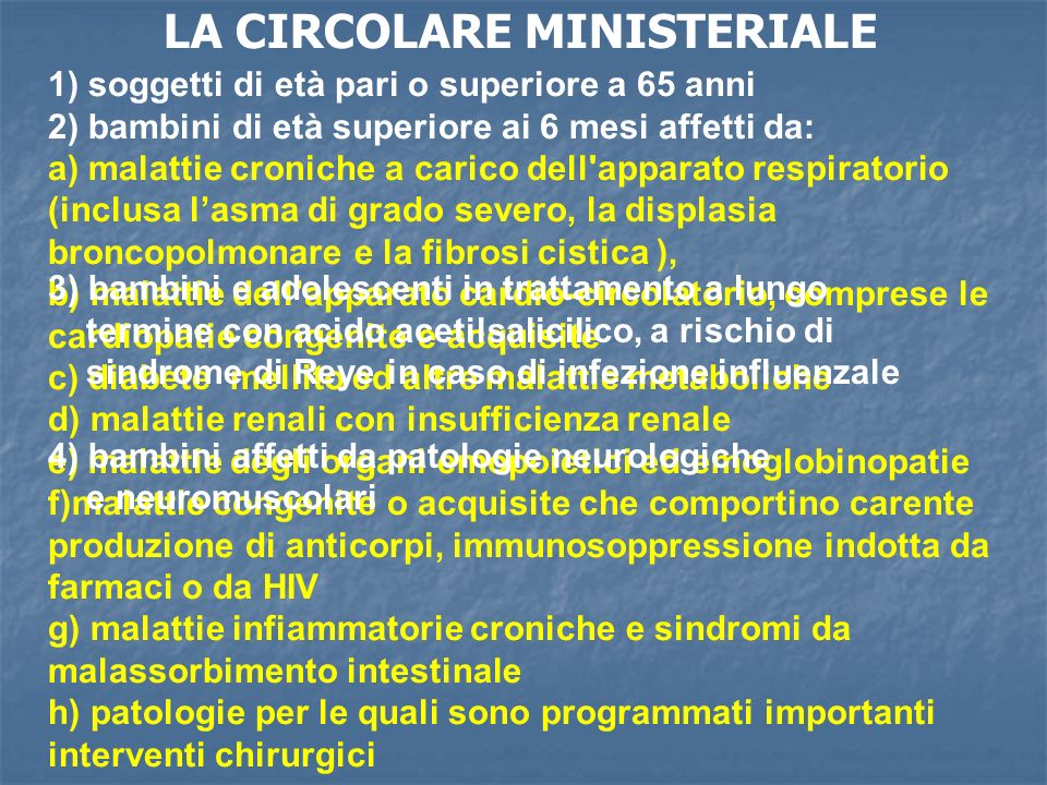 LA CIRCOLARE MINISTERIALE