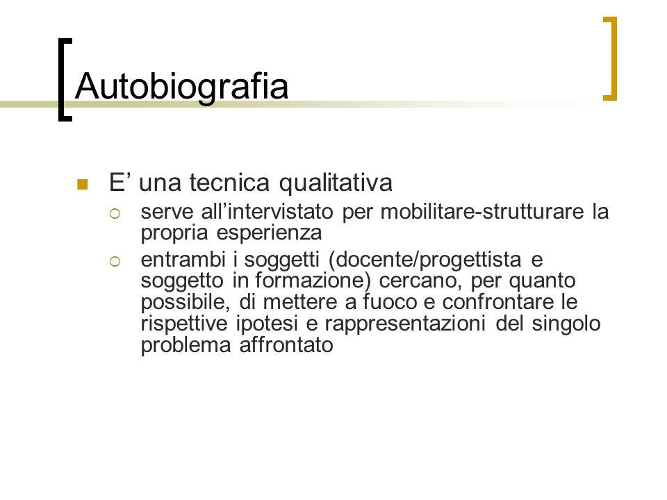Autobiografia E' una tecnica qualitativa