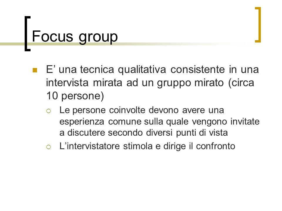 Focus group E' una tecnica qualitativa consistente in una intervista mirata ad un gruppo mirato (circa 10 persone)