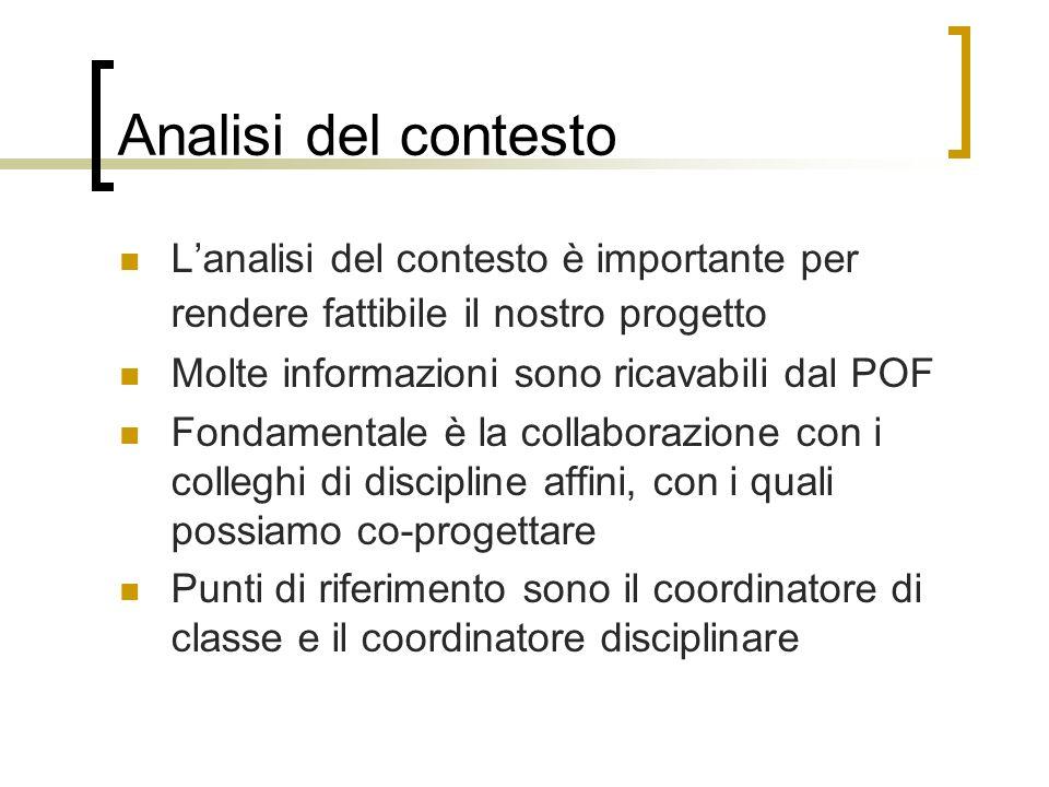 Analisi del contesto L'analisi del contesto è importante per rendere fattibile il nostro progetto. Molte informazioni sono ricavabili dal POF.
