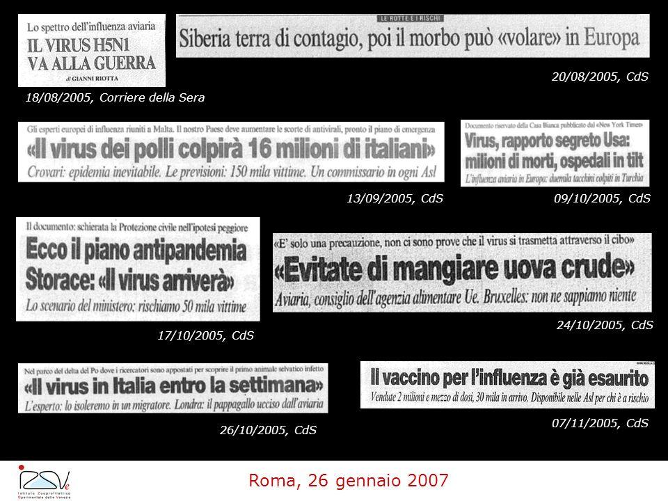 Roma, 26 gennaio 2007 20/08/2005, CdS 18/08/2005, Corriere della Sera