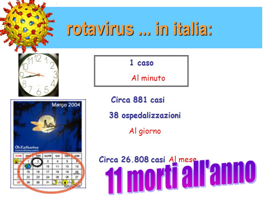 rotavirus ... in italia: 11 morti all anno 1 caso Al minuto
